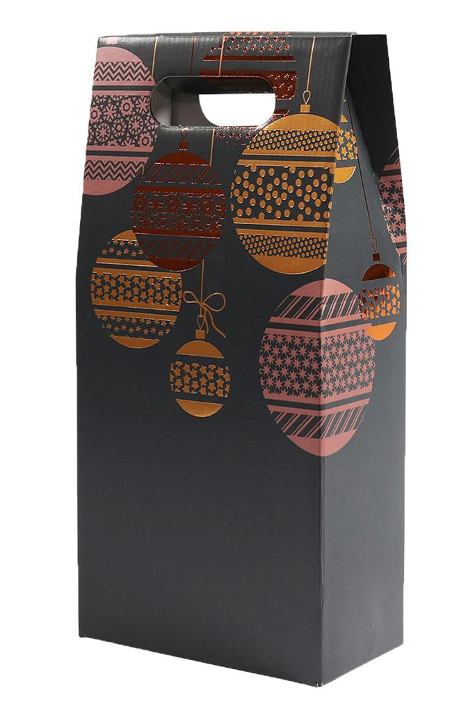 2 Bottle Gift Box Carton Dark Christmas Baubles Design