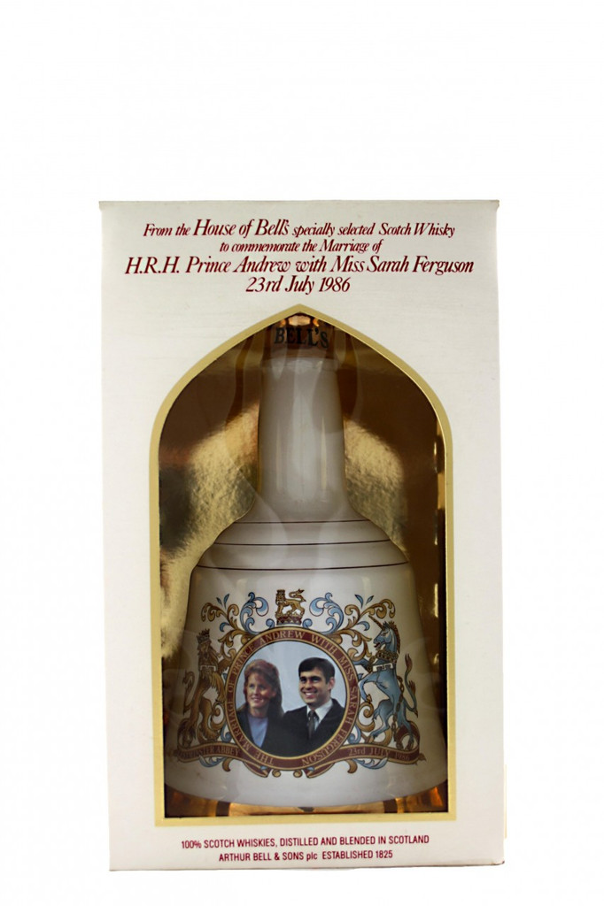 Bell's Whisky Decanter to Commemorate the Marriage of HRH Prince Andrew with Miss Sarah Ferguson 23rd July 1986. Box.