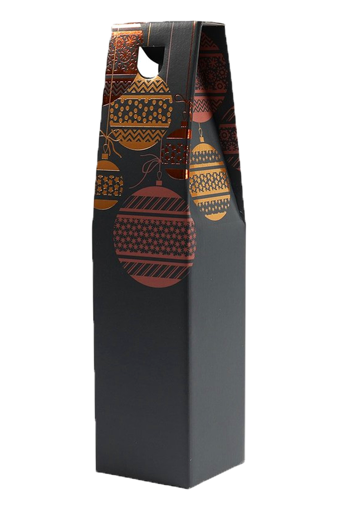 Single Bottle Gift Carton Dark Xmas Baubles Design
