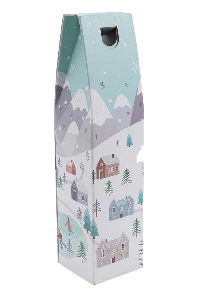 Single Bottle Gift Carton Snowy Scene Design