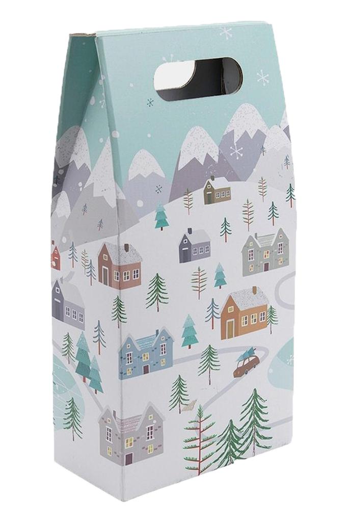 Double Bottle Gift Carton Snowy Scene Design