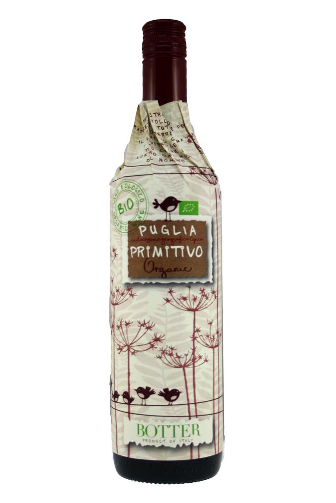 Organic Primitivo IGT Botter Wrap Around Label, Puliga, Italy 2020