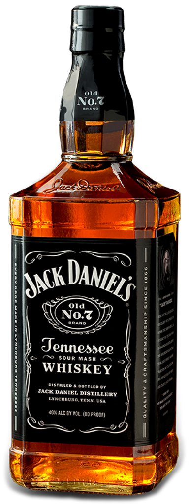 Jack Daniels.  Jack Daniels Tennessee Whiskey, from Lynchburg, Tennessee, charcoal filtered prior to barrel maturation.