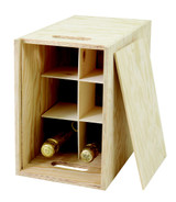 6 Bottle Presentation Box Wooden with Slats