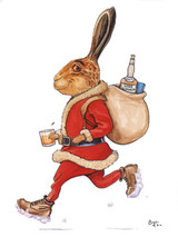 Hare Restorer Christmas Card Bryn Parry