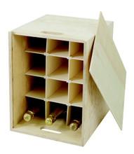 12 Bottle Presentation Box Wood Gift Box with Slats