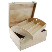 6 bottle wooden hamper tray with hinged lid