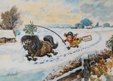 Mistletoe Pony Thelwell Christmas Card