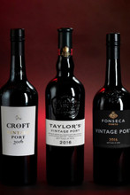 Vintage Collection. 1 Bt of each of Taylor's, Fonseca and Croft in a wooden presentation box. Vintage Port 2016 3 x 75cl