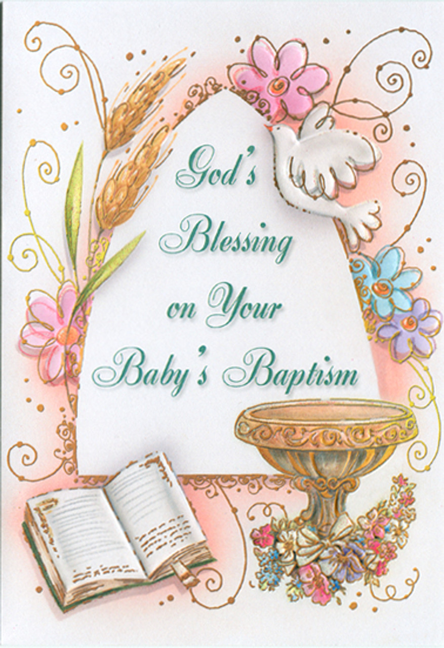 sisters of carmel baby's baptism greeting card