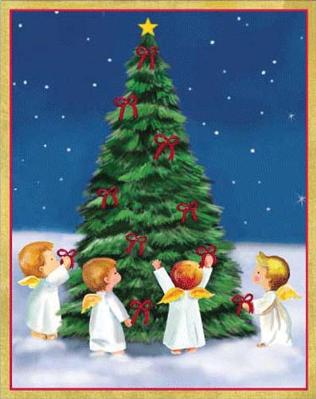 Angels Christmas Cards.Angels Around Christmas Tree Single Christmas Card