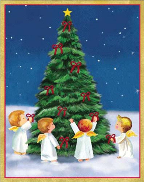 Religious Christmas Cards.Angels Around Christmas Tree Christmas Card