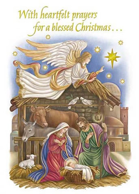 Religious Christmas Cards For Children.Nativity Night Single Christmas Card