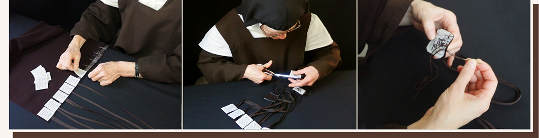 brown scapular, wool scapular, handmade by the sisters, our lady of mount carmel