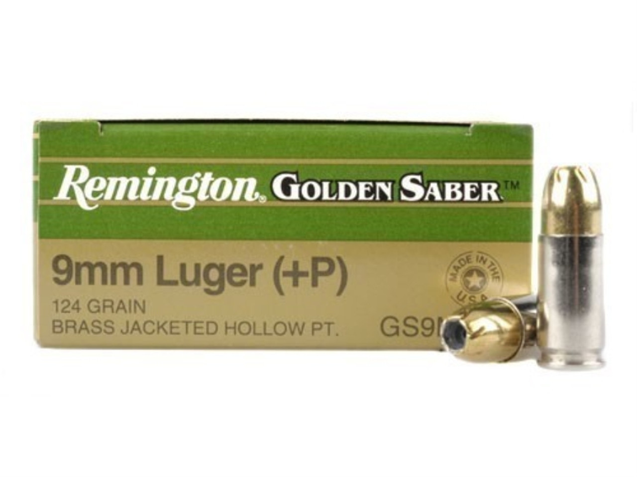 REMINGTON GOLDEN SABER 9MM +P 124 GRAIN BRASS JACKETED HOLLOW POINT 25  ROUND/ BOX AMMO