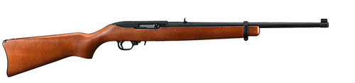 "This is a Ruger 10/22 Carbine (37""long with 18.5"" barrel) with a Hardwood stock. The barrel is finished in a matte black and is equipped with an adjustable rear sight and a gold bead front sight."