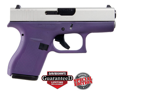 Glock 42 380acp  6 Rounds Front Serrations Cerakote Shimmering Aluminum Slide and Cerakote Purple Frame