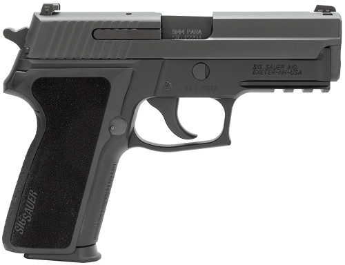 This is a Sig Sauer P229 with an E2 grip chambered in 9mm, the firearm comes with (2) 15 round magazines.