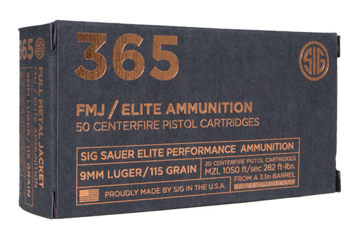 Sig Sauer Elite Ammunition - 365 - 9mm 115 Grain FMJ 50rds / Box