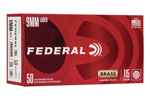 Federal Champion 9mm 115 Grain FMJ 50 Rounds Box