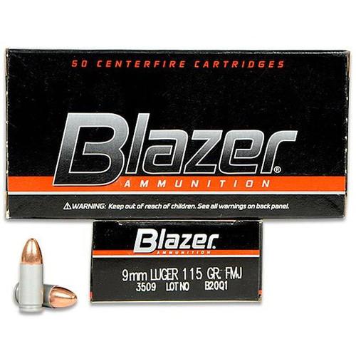 Blazer 9mm 115 Grain FMJ 50 Rounds / Box Ammo