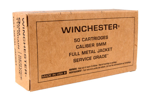 Winchester 9mm 115 Grain FMJ Service Grade s50 Rounds/Box
