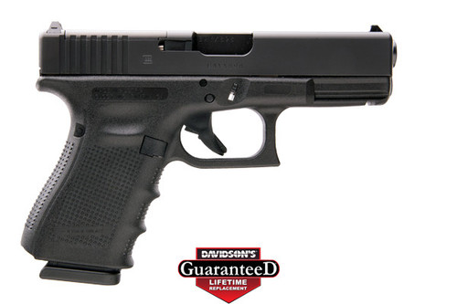This is a Glock 19 9mm, Gen 4, with a black finish. This model is equipped with the Modular Optic System (MOS) and comes with (3) - 15 round magazines.