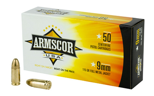 Armscor Ammunition - 9MM - 115gr FMJ - 50 Rounds / Box - FAC9-2N