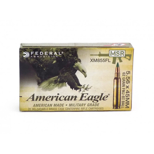 Federal Ammunition - 5.56 Nato - 62gr FMJ BT - Green Tip - XM855FL