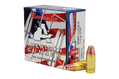 Hornady Ammunition - American Gunner - 9MM - 115 Grain - 25Rds Per Box - 90244