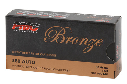 PMC Ammunition - 380 acp - 90gr FMJ - 50 Rounds / Box - 380A