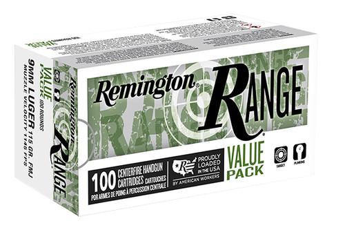 Remington Ammunition - Range - 9MM - 115gr FMJ - 100 Rounds / Box - T9MM3B