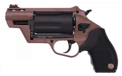 This is a Taurus Revolver: Double/Single Action known as the Judge: Public Defender chambered in 45LC|410 Gauge, Coyote Brown, model # 2-441021B, UPC 725327616863