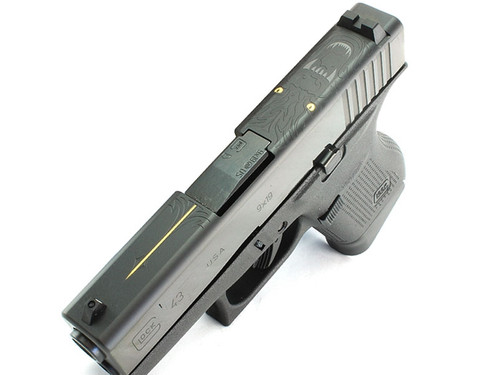 This is a Glock Striker Fired Pistol known as the 43 chambered in 9MM, Wolf Engraved Slide, model DAV-12403.