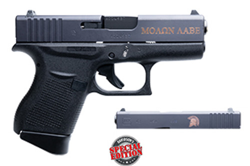 This is a Glock Striker Fired Pistol known as the 43 chambered in 9MM, Spartan Engraved Slide, model DAV-12400.