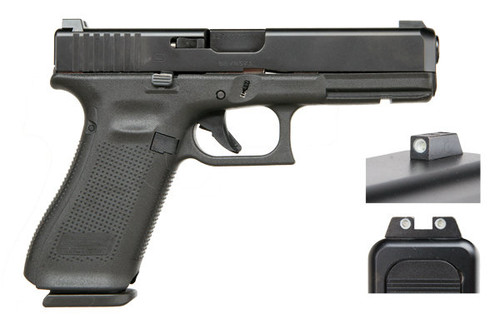 Glock 17 Gen 5, with factory Glock Night Sights. The newest in the line of Glock Perfection. Comes Stock with the Glock Marksman Barrel, Flared Magwell, No Finger Grooves and Ambidextrous Slide Stop Levers. (3) 17 round magazines.