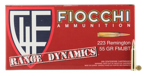 Fiocchi Ammunition - Range Dynamics - 223 Rem FMJBT - 55 Grain - 200 Rds Per Box - 223ARD