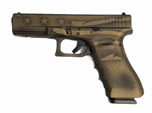 Glock Pistol - 17 - 9mm - Battle Worn Burnt Bronze w/ Flag - UI1750204B