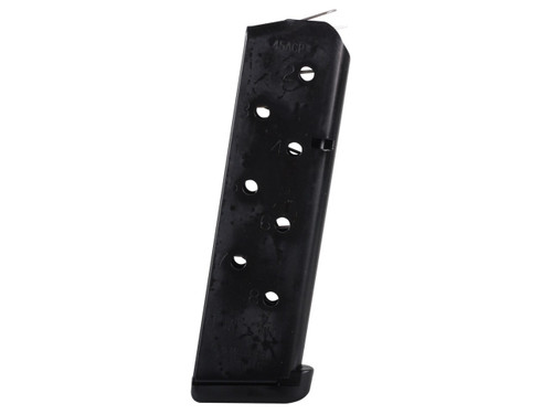 This is a 1911 .45 ACP 8 round magazine made from stainless steel with a blackened finish, Power Mag made by Chip McCormick.