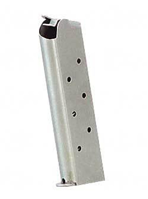 This is a 1911 magazine full-size .45 acp stainless steel magazine, 8 round capacity, made by Springfield.