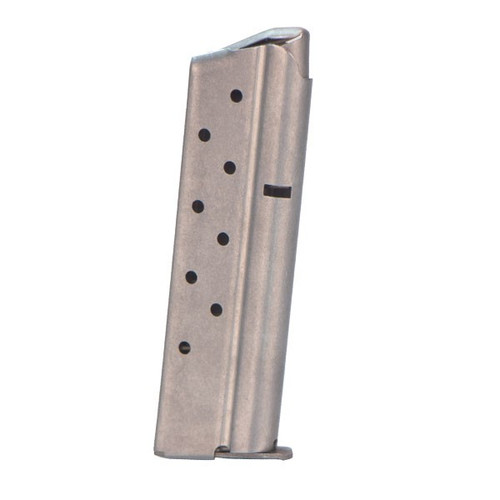 This is a 1911 magazine for a full-size 10mm pistol, stainless steel, 8 round capacity, made by Metalform.
