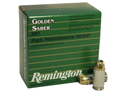 Remington Golden Saber .45 ACP +P 185 Grain Brass Jacketed Hollow Point, has 25 rounds per box, manufactured by Remington.