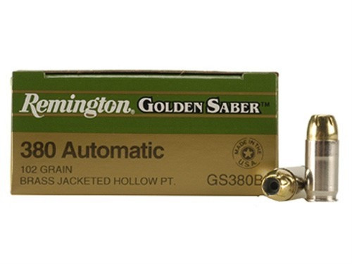 Remington Golden Saber .380 ACP 102 Grain Brass Jacketed Hollow Point, has 25 rounds per box, manufactured by Remington.