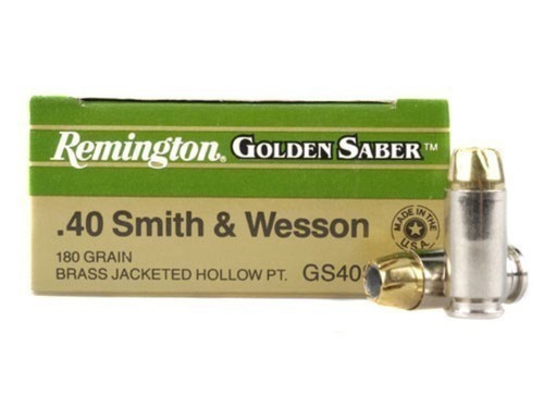 Remington Golden Saber 40 s&w 180 Grain Brass Jacketed Hollow Point, has 25 rounds per box, manufactured by Remington.