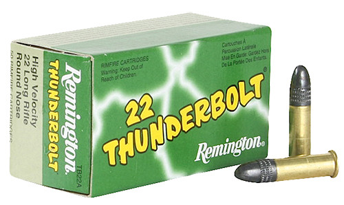Remington Thunderbolt .22 long rifle 40 Grain Lead Round Nose, has 50 rounds per box, manufactured by Remington.