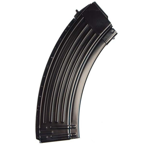 This is a AK-47 magazine 7.62x39mm, 30 round capacity, constructed from steel with a no tilt follower, made in Korea.