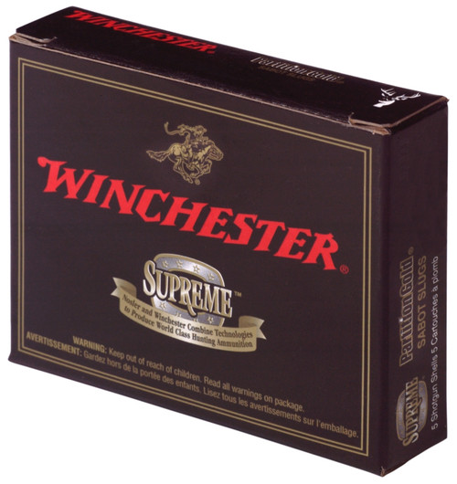 """Winchester Supreme 20 gauge, 2 3/4"""" shell loaded with a 260 grain partition gold sabot slug, 5 rounds per box, manufactured by Olin under the Winchester trademark."""
