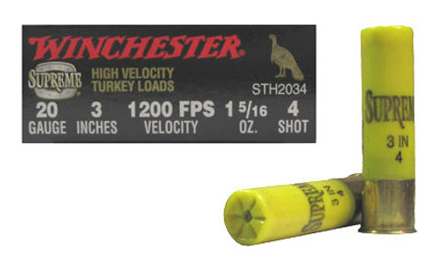 """Winchester Supreme High Velocity Turkey Loads 20 gauge, 3"""" shell loaded with 4 copper-plated lead shot (1 5/16oz.), 10 rounds per box, manufactured by Olin under the Winchester trademark."""