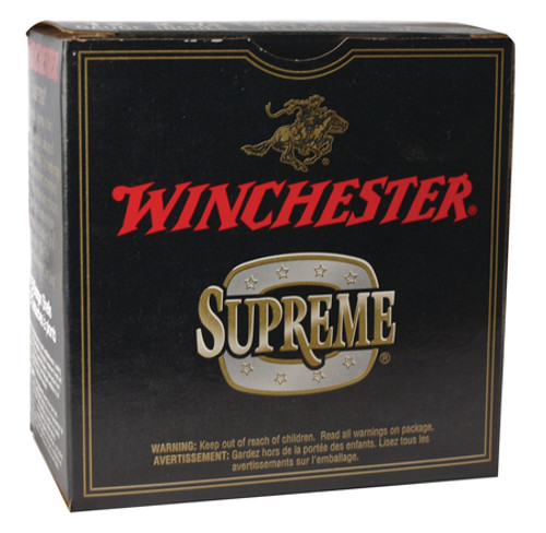 "Winchester Supreme Double X Magnum Extra Long Range 12 gauge, 2 3/4"" shell loaded with #6 copper-plated lead shot (1 1/2 oz.), 25 rounds per box, manufactured by Olin under the Winchester trademark."