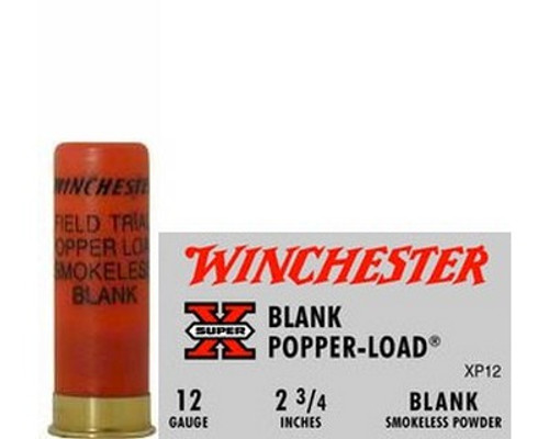 """Winchester Super Black Powder Blank Load 12 gauge, 2 3/4"""" shell loaded with black powder, 25 rounds per box, manufactured by Olin under the Winchester trademark."""